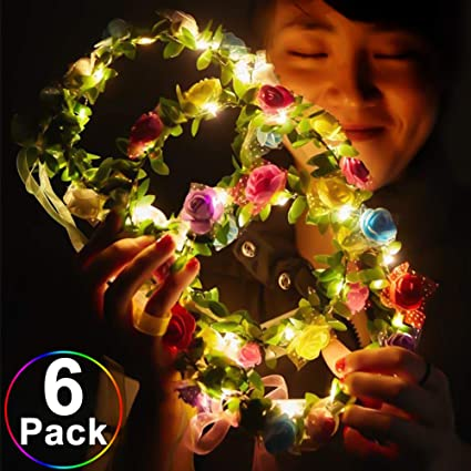 Novelty Led Flashing Flower Headband Hairband Glowing Light Floral Wreath Hair Ornament Children Girls Toys Christmas Party Girl's Hair Accessories