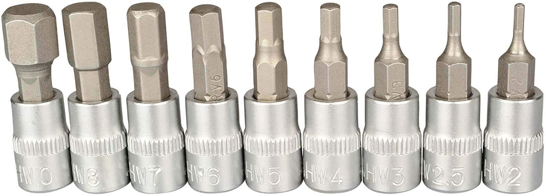 1//4/'/' Inbusschlüssel Steckschlüssel-Bits Innensechskant Nuss Stecknuss 2~10mm DE