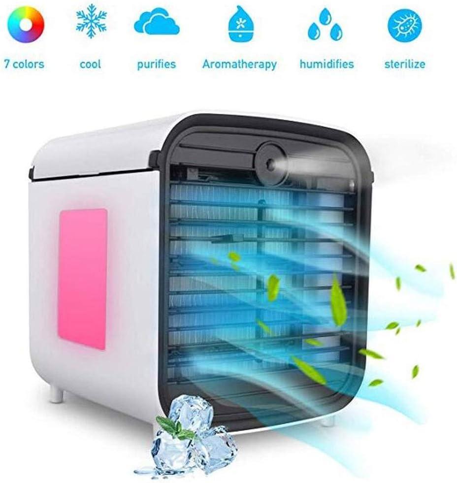 Enfriador de aire portátil, 4 en 1 Humidificador purificador de aire pequeño Aromaterapia, 3 velocidades 7 colores Luces LED USB Espacio personal Enfriador de aire Escritorio Mini Ventilador de enfria: Amazon.es: Hogar