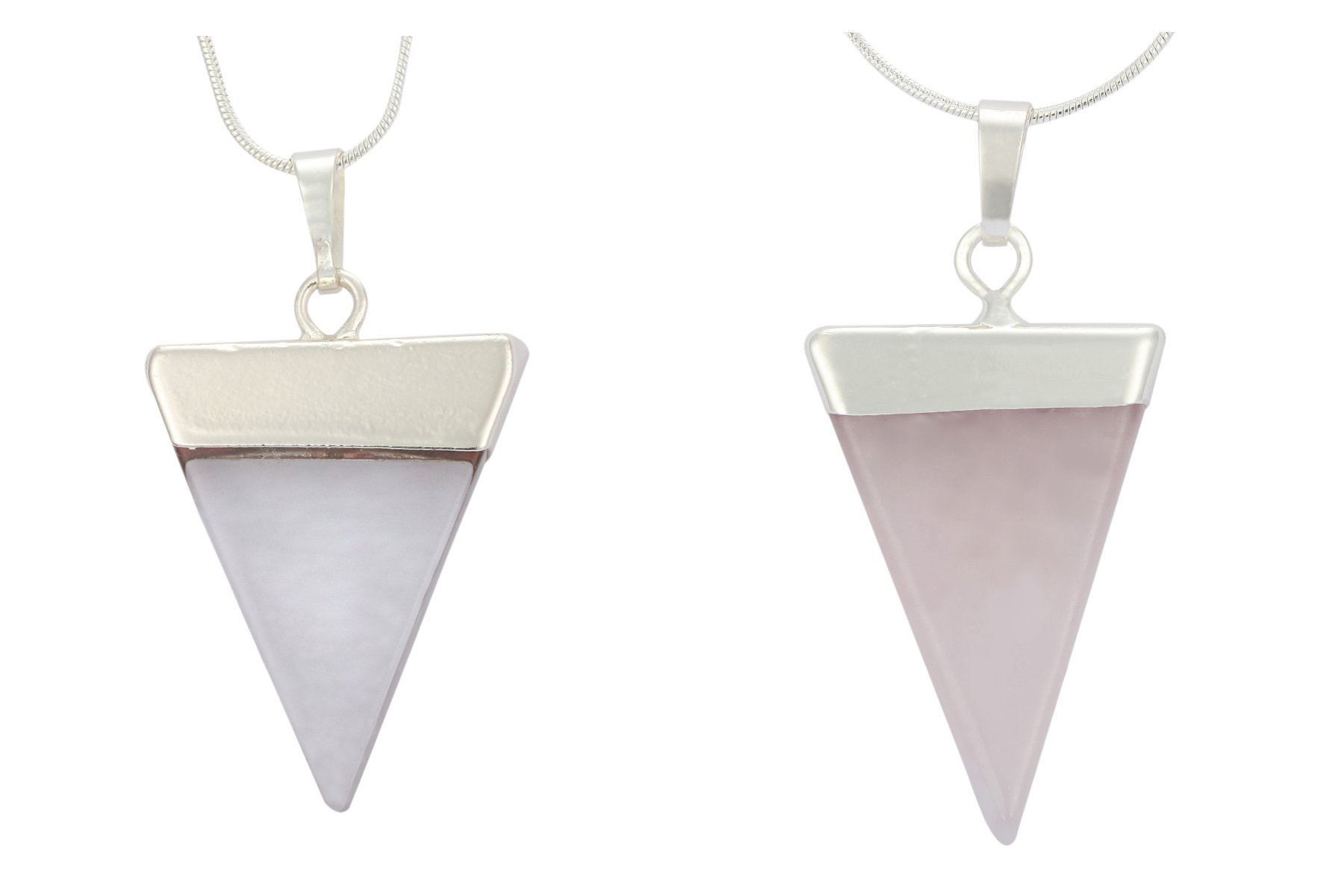 Top Quality Natural Clear Crystal & Rose Quartz Healing Point Reiki Chakra Triangle Cut 18-20 Inch Gemstone Pendant Necklace (2pcs) in Gift Bag #GGP-A-S2