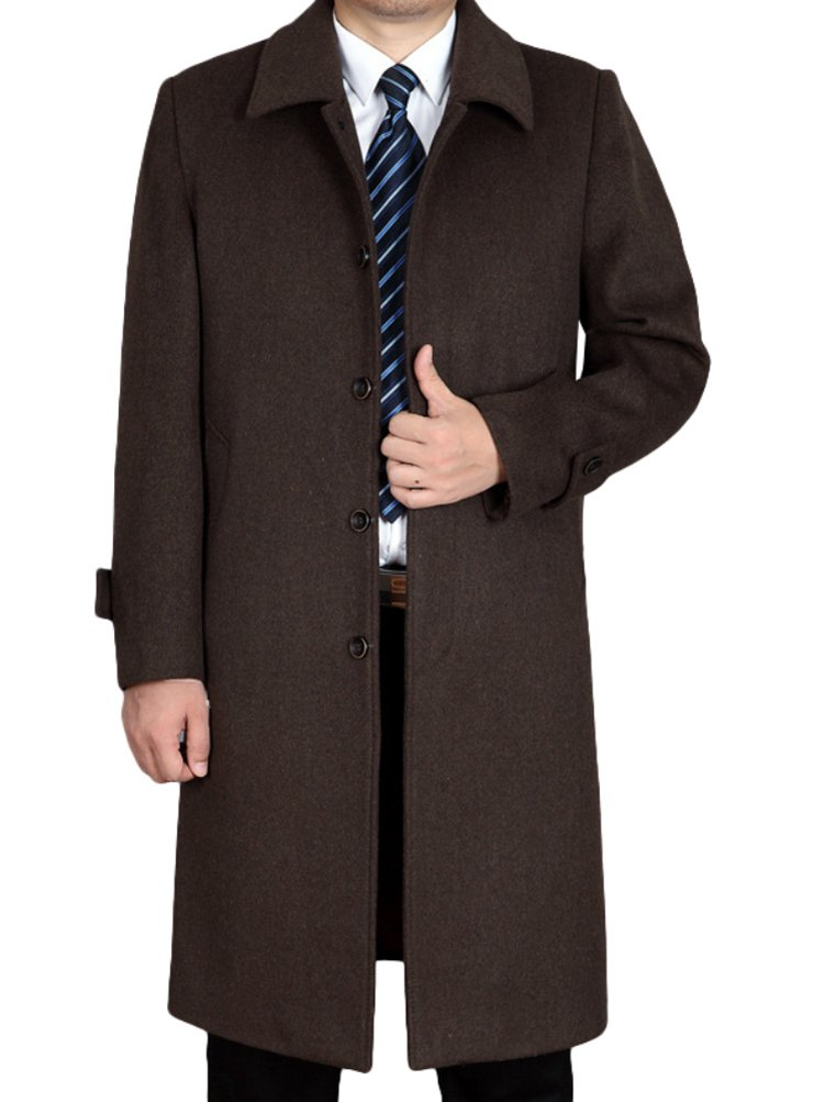 Mordenmiss Men's Wool Single Breasted Winter Trench Jacket Woolen Pea Coat Style 1 Khaki S by Mordenmiss