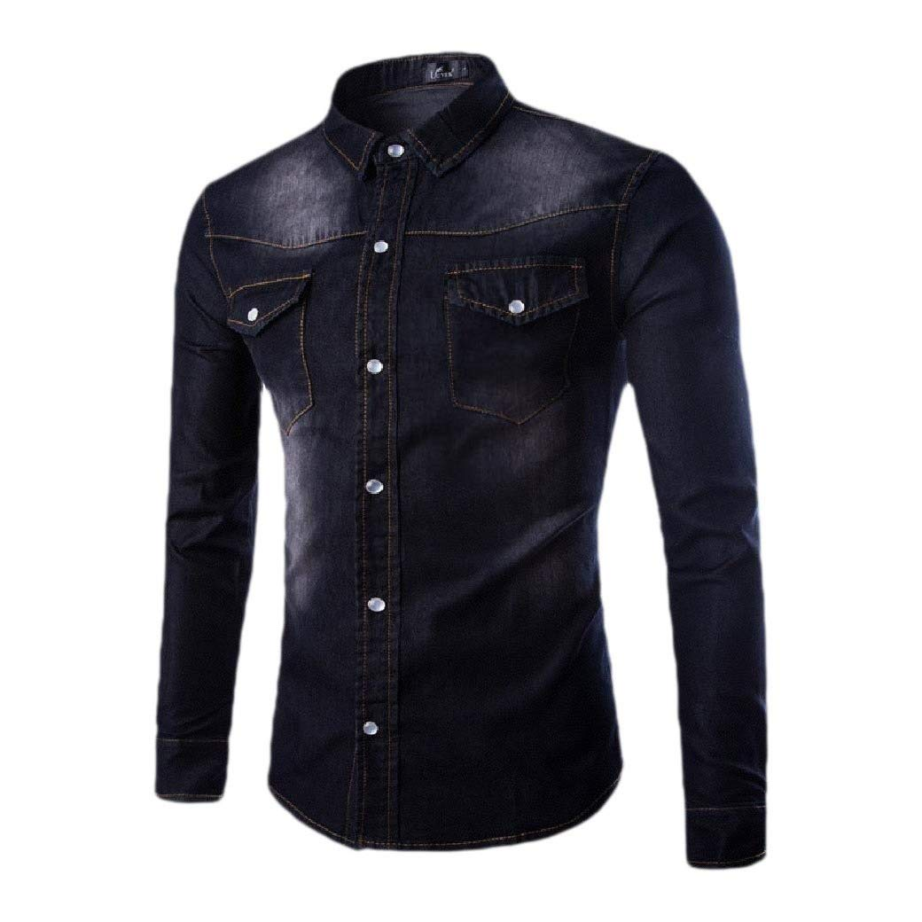 Abetteric Men Oversized Chest Pockets Cowboy Classic Blouses and Tops Shirts