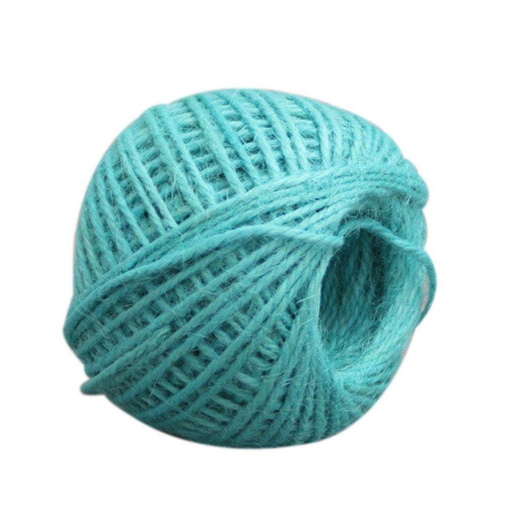 M-Egal 50m Multicolor Twisted Burlap String Natural Ribbon Fiber Jute Twine Rope dark blue