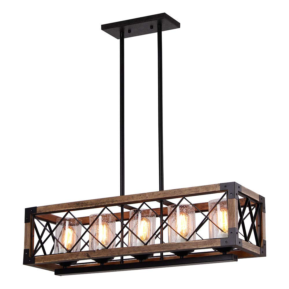 Giluta Rectangle Wood Metal Pendant Light with Seeded Glass Shade Kitchen Island Chandelier Black Finish Rustic Industrial Edison Hanging Light Vintage Ceiling Light Fixture 5 Lights (17810)