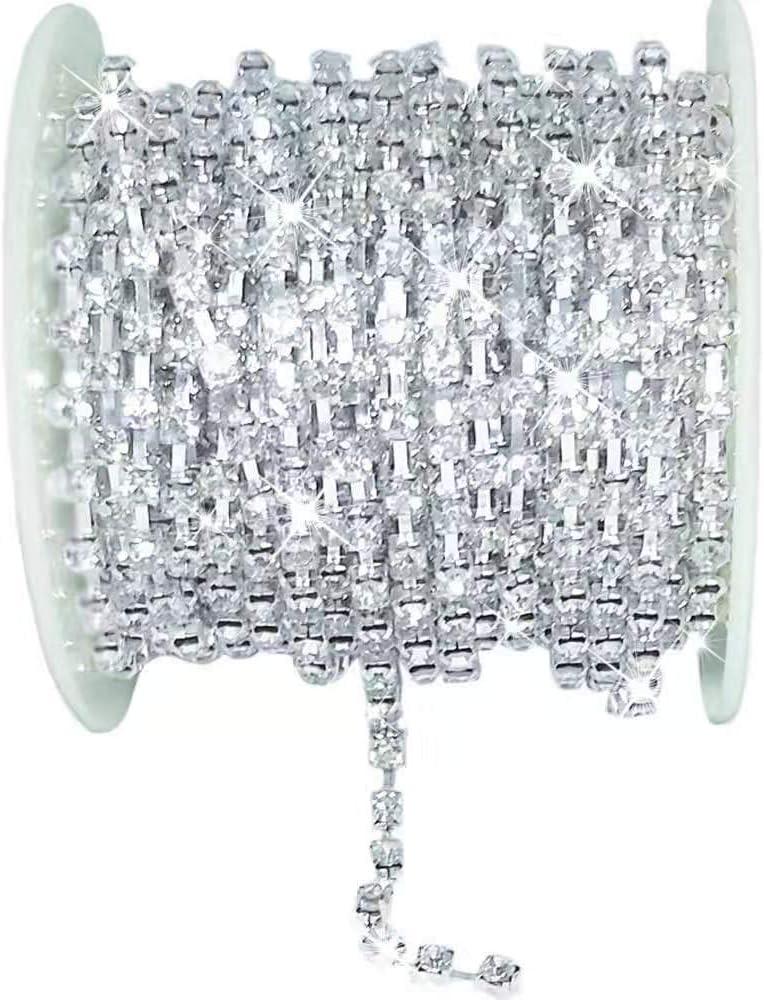 AmaJOY Einreihige Strass-Kette zum Basteln silberfarben 3mm breit f/ür Hochzeiten f/ür selbstgemachte Dekorationen zum N/ähen und zur Verzierung 9,14 m lang