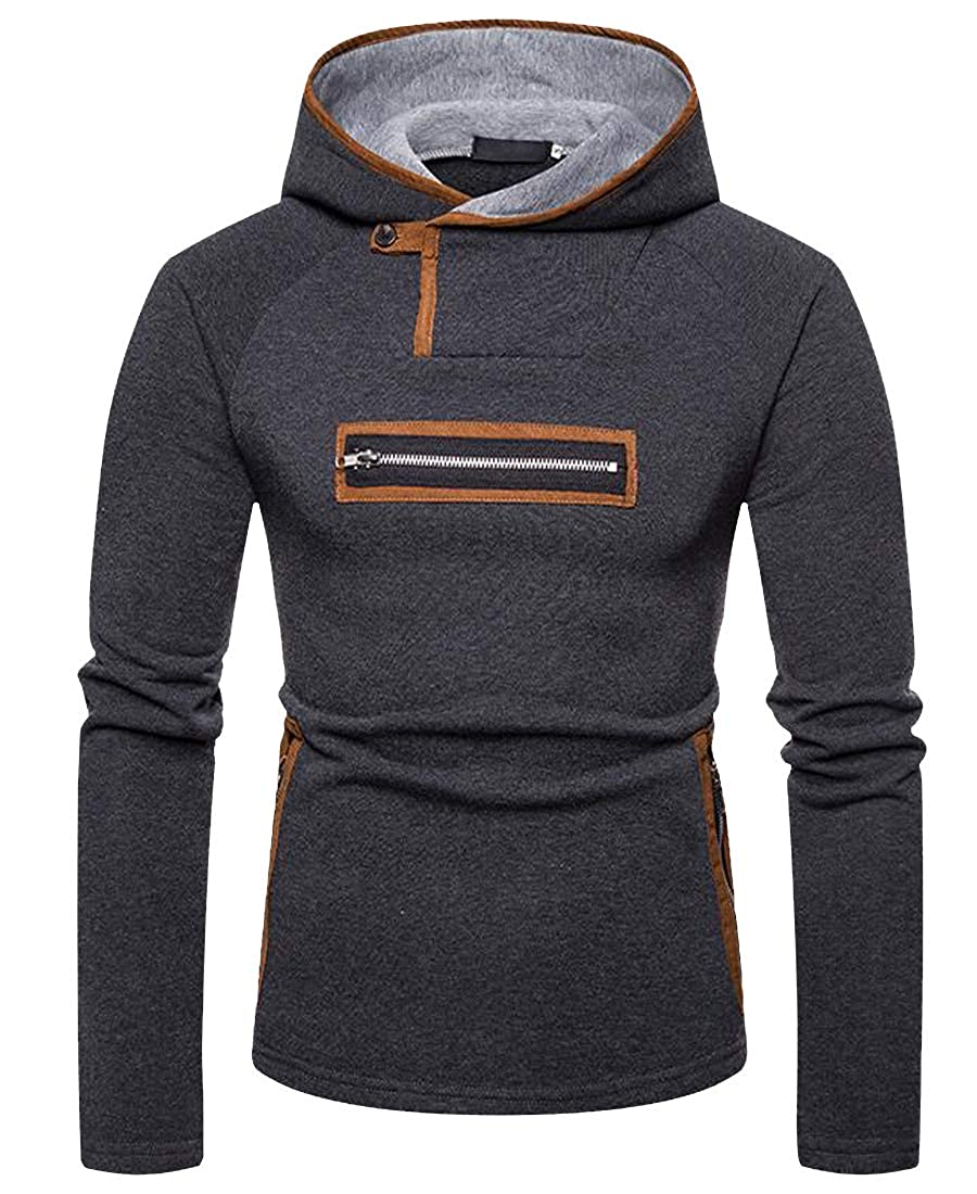 Etecredpow Mens Hooded Pullover Stylish Stitching Big Tall Sweatshirts