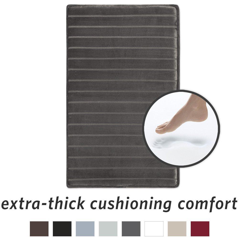 Microdry Memory Foam Softlux Skid-Resistant Bath Mat, 17 x 24, Chocolate MindsInSync 10802