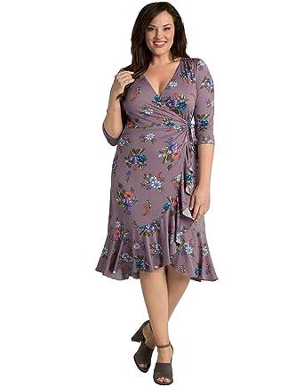 Kiyonna Womens Plus Size Flirty Flounce Wrap Dress At Amazon