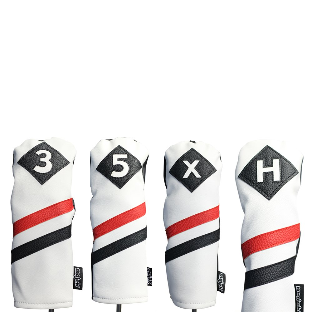 Majekレトロゴルフヘッドカバー3ホワイトレッドとブラックヴィンテージレザースタイル3 5 x Hフェアウェイウッド木製、ハイブリッドヘッドカバークラシックLook B0771WHGGC