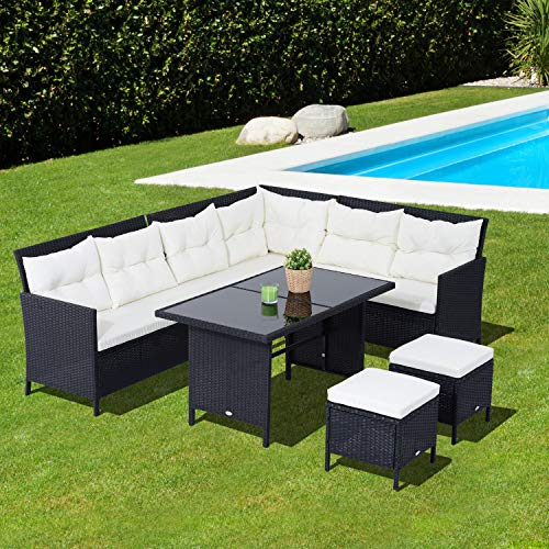 Mewmewcat 6 pcs Wicker Rattan Set Outdoor Dining Set with Sofa Table  Footrest and Cushions Steel Frame and PE Rattan