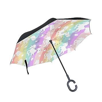 MAILIM - Paraguas Reversible con diseño de Rayas Coloridas y Unicornio (Doble Capa, Mango