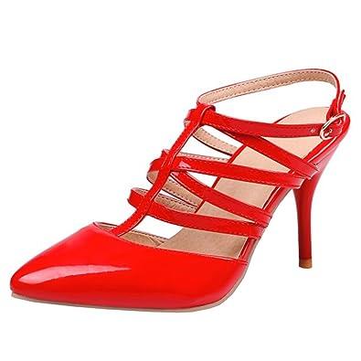 Agodor Damen Slingbacks Riemchen Sandalen mit Schnalle und Spitze High Heels Stiletto Pumps Lack Elegante Schuhe
