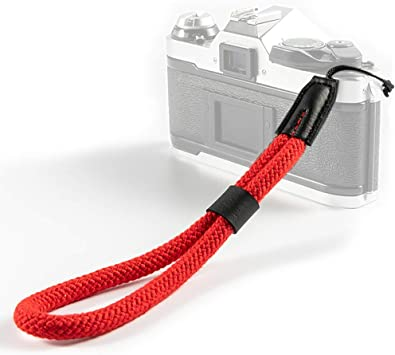 7 inch 10mm wide Hand Made Black Leather Camera Wrist Strap