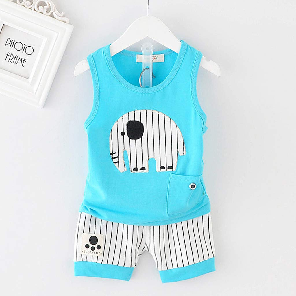 Kids Boy Short Vest Suit, Baby Summer O-Neck Cartoon Stripe Shorts Sport Outfits Clothes Set For 0-3 Years (6-12 Months, Blue) by Hopwin Baby Boys Suits (Image #2)