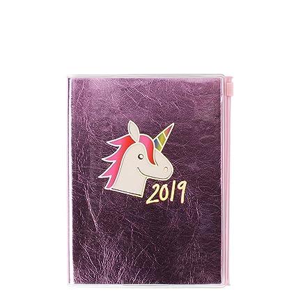Agenda 2019, tamaño mediano, diseño de unicornio, color rosa ...
