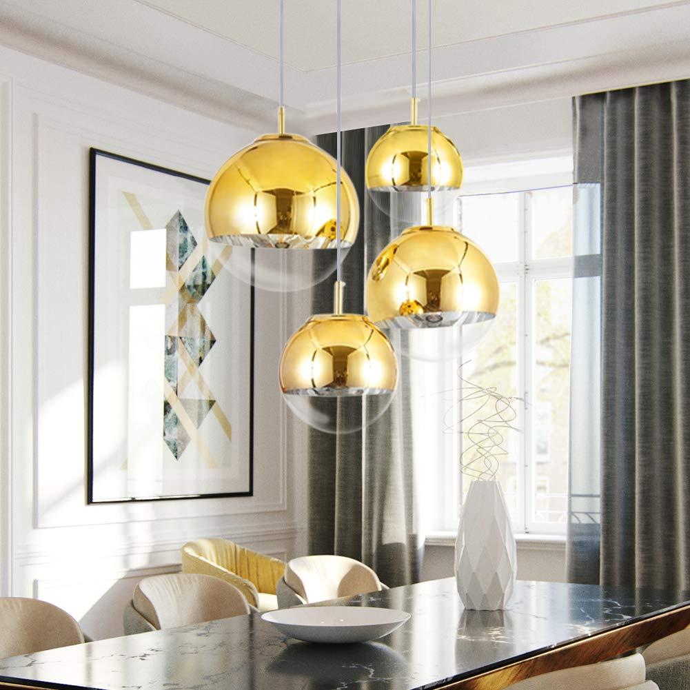 Mzithern mini globe pendant light mirror ball pendant light fixture in gold modern glass pendant lighting for kitchen island living room dinning room