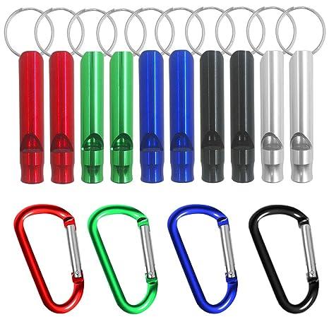 10 silbatos de aluminio de FineGood con 4 ganchos de mosquetón sin bloqueo, silbatos de supervivencia de emergencia con llavero para deporte, ...