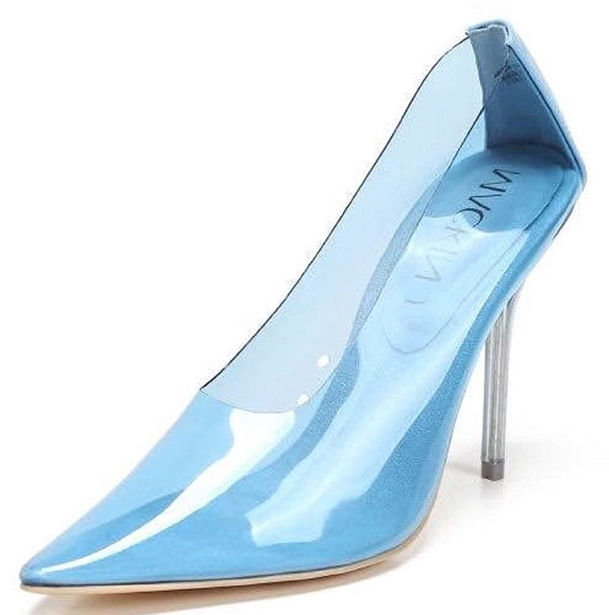 Mackin J 260 1 Transparent Clear Lucite PVC Pointed Pointy Toe Stiletto High Heel Pump Blue
