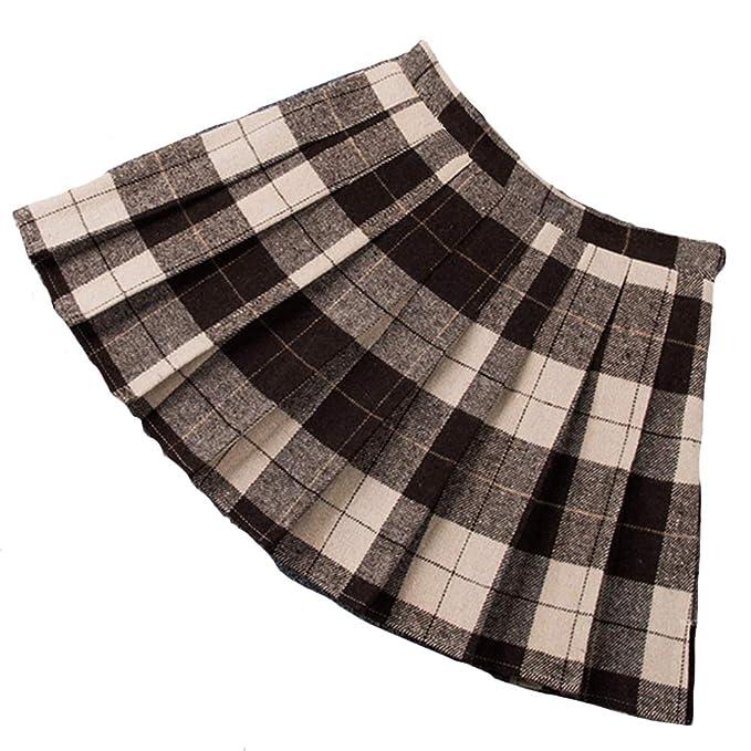ZhuiKunA Mujeres Falda Escocesa Plisada con Cintura Elástica ...