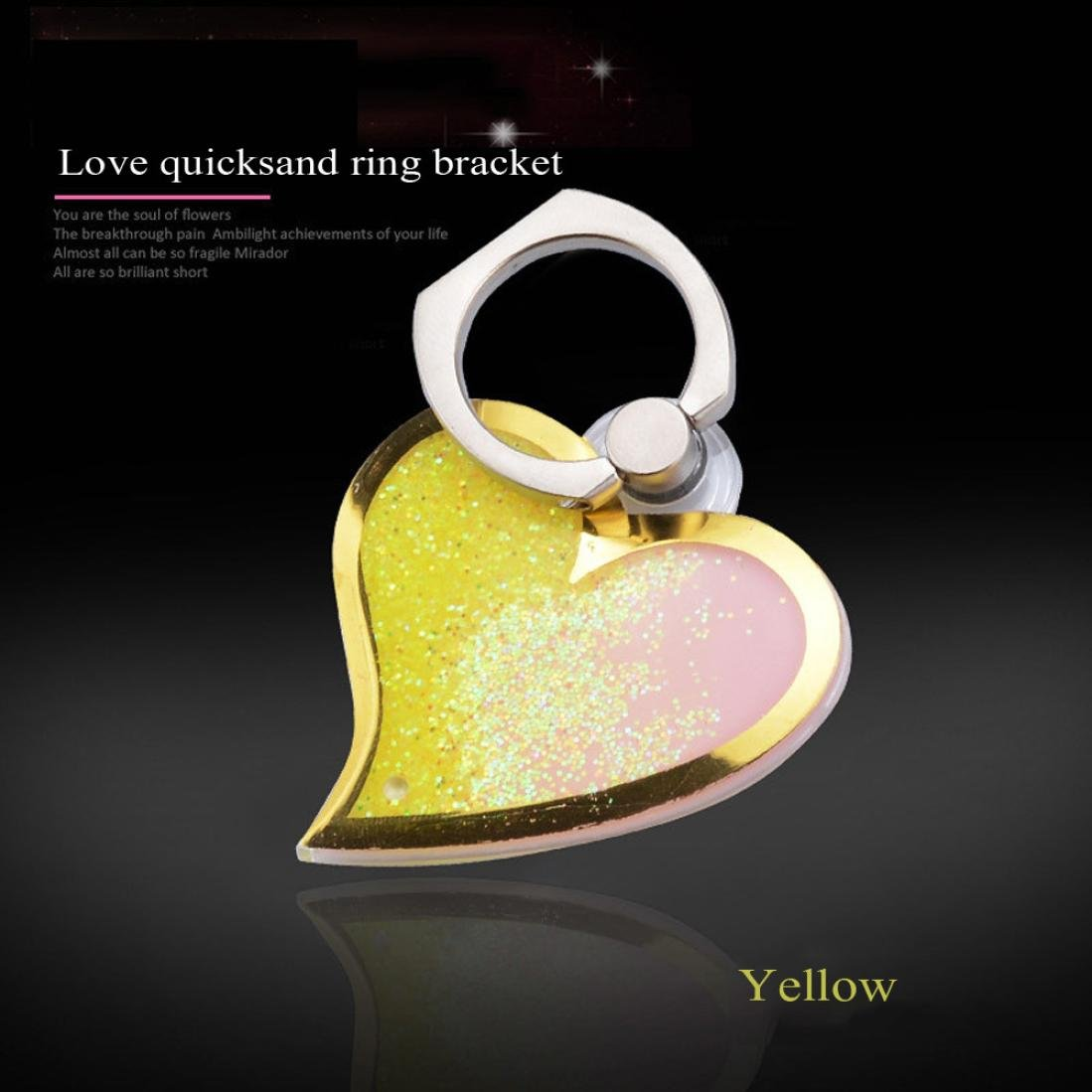 Finger Ring Stand, SUKEQ 360° Rotation Love Shape Mobile Phone Holder, Metal Heart Bling Ring Mirror Stand Holder, Phone Ring Bracket, Mount Holder (Yellow) by SUKEQ (Image #2)
