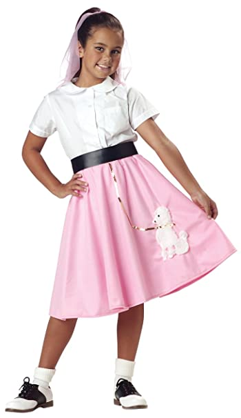 Girls 50's Pink Poodle Skirt Costume - Child Size 6-8