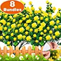 Turnmeon Artificial Flowers 8 Bundles Faux Outdoor Uv Resistant Daffodils Greenery Shrubs Plants Artificial Fake Flowers Indoor Outside Hanging Planter Home Garden Decor
