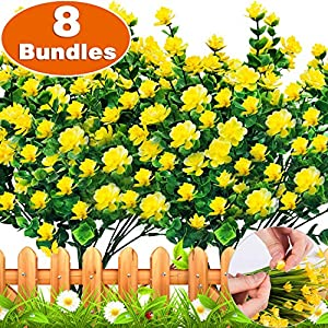 Silk Flower Arrangements TURNMEON Artificial Fake Flowers, 8 Bundles Faux Outdoor UV Resistant Daffodils Greenery Shrubs Plants Artificial Fake Flowers Indoor Outside Hanging Planter Home Garden Fall Garland Decor