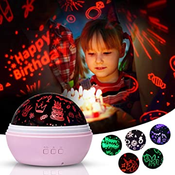 Birthday Unicorn Night Light Projector Toys for Kids Toddlers,Birthday Party Favors Supplies,Girls Birthday Gifts for 2-15 Years Old(Pink)