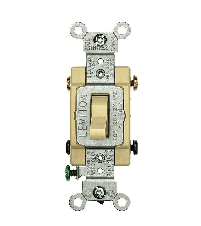 Grounding 120//277 Volt Toggle 4-Way AC Quiet Switch Commercial Grade Black Leviton CS420-2E 20 Amp