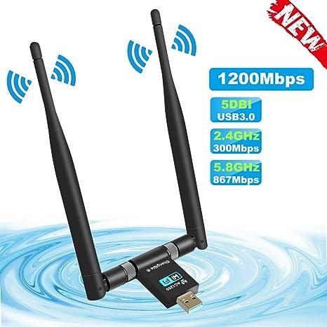 ShangQia Antena Adaptador WiFi 1200Mpbs 2 Antenas 5dBi USB 3.0 Dual Band 2.4G 300M/