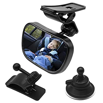 Car Seat Mirror 360/°Adjustable Safety Child Rear View Mirror with Sucker and Clip 100/% Shatterproof Back Seat Mirror for Baby Infant Toddler Child Mom Natuce 1 Baby Car Mirror with 2 brackets
