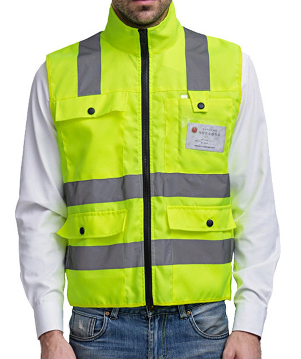 Hogear Safety Vest with Reflective Stripes Hi-vis Zipper Front Sports Gear for Running Dog Walking Jogging Cycling