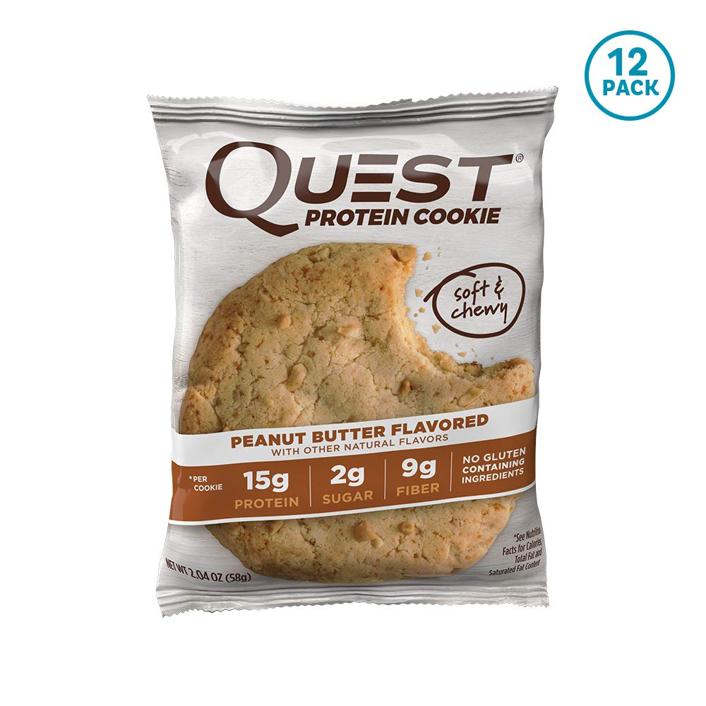 Quest Nutrition Protein Cookie, Peanut Butter,2.04 Ounce, Pack of 12 by Quest Nutrition