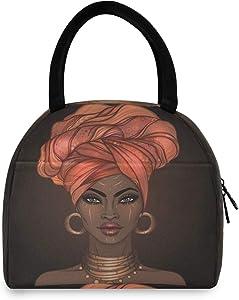 Toprint American African Women Girl Lunch Bag Box Lunchbox Cooler Bag Tote Organizer Insulated Lunch Box Drink Holder Container Zipper Handbag For Women Men Outdoor Picnic Beach Work School