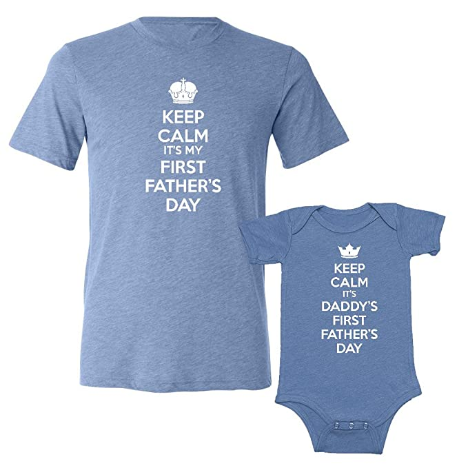 0a066791 We Match! Keep Calm It's My & Daddy's First Father's Day - Matching  Triblend T
