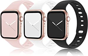 Bandiciton 3-Pack Sport Band Compatible with Apple Watch Bands 38mm 40mm 42mm 44mm iWatch Bands Women Men, Double-clasp Silicone Sport Replacement Strap Compatible for iWatch SE Series 6/5/4/3/2/1