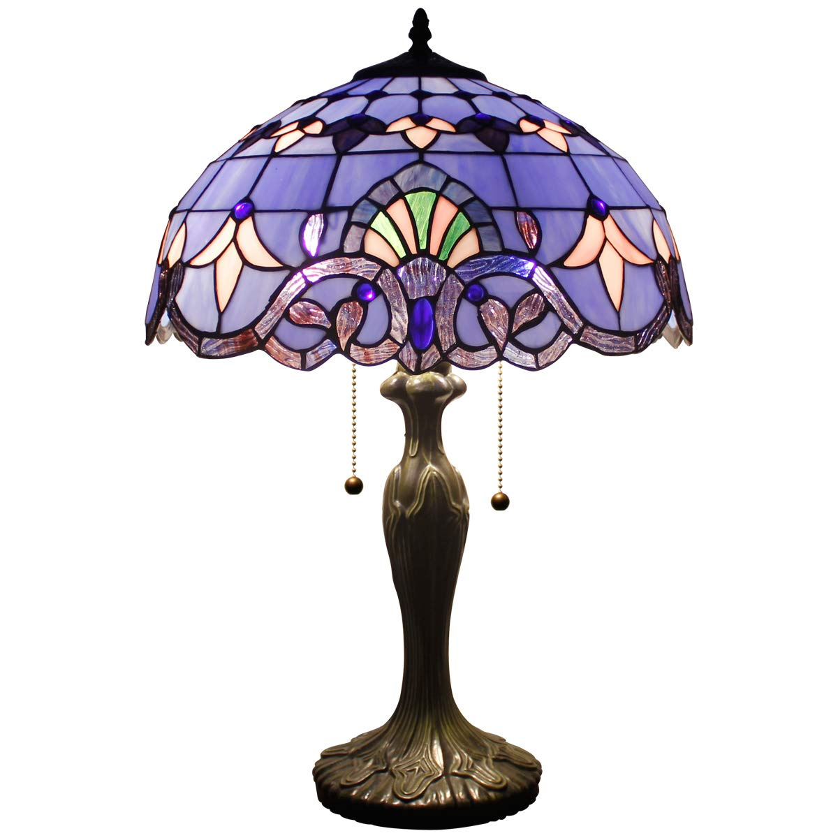 Werfactory Tiffany Style Table Lamp 24 Inch Tall Blue