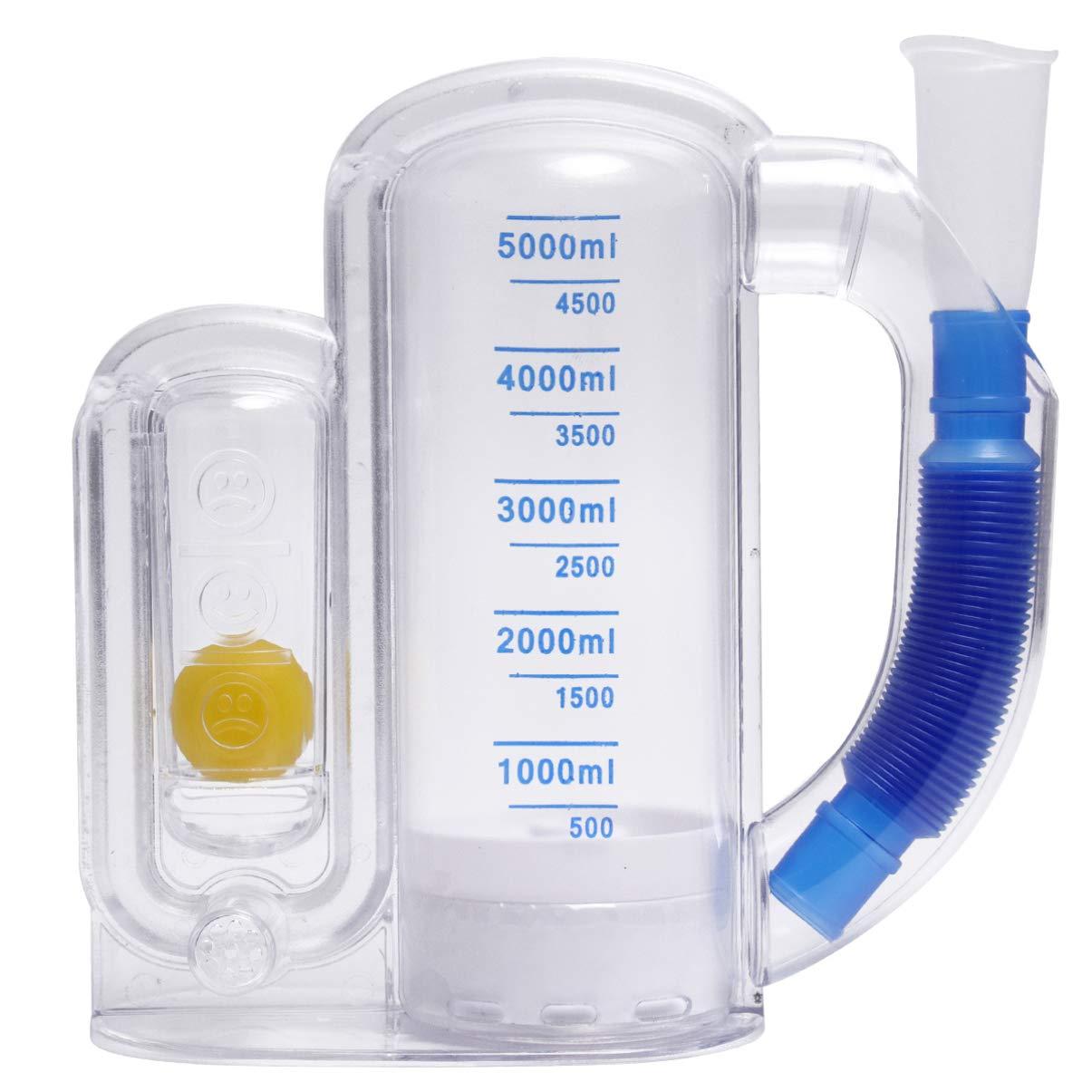 ULTECHNOVO Entrenador de Respiración Espirómetro Portátil de 5000 Ml para Rehabilitación Pulmonar Entrenador de Incentivos de Capacidad Vital para Hospital Hogar