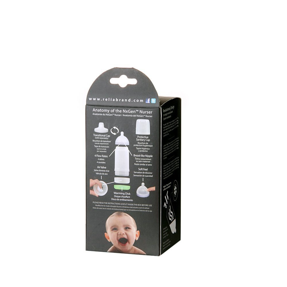 Adiri NxGen Newborn Nurser Baby Bottle 2 Pack, White, 5.5 Ounce