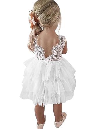 48257316b3a6d NNJXD Robe de Fête Tutu Tulle Fleur Dos Nu A-Ligne en Dentelle pour Petites