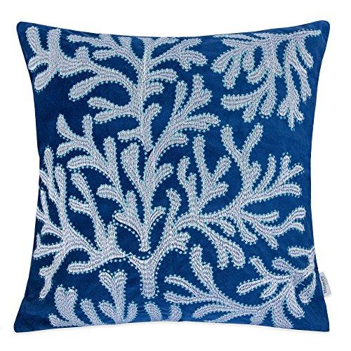 Homey Cozy Embroidery Navy Velvet Coral Island Throw Pillow Cover,Ocean Blue Series Nautical Decorative Pillow Case Coastal Beach Theme Home Decor 20x20,Cover Only