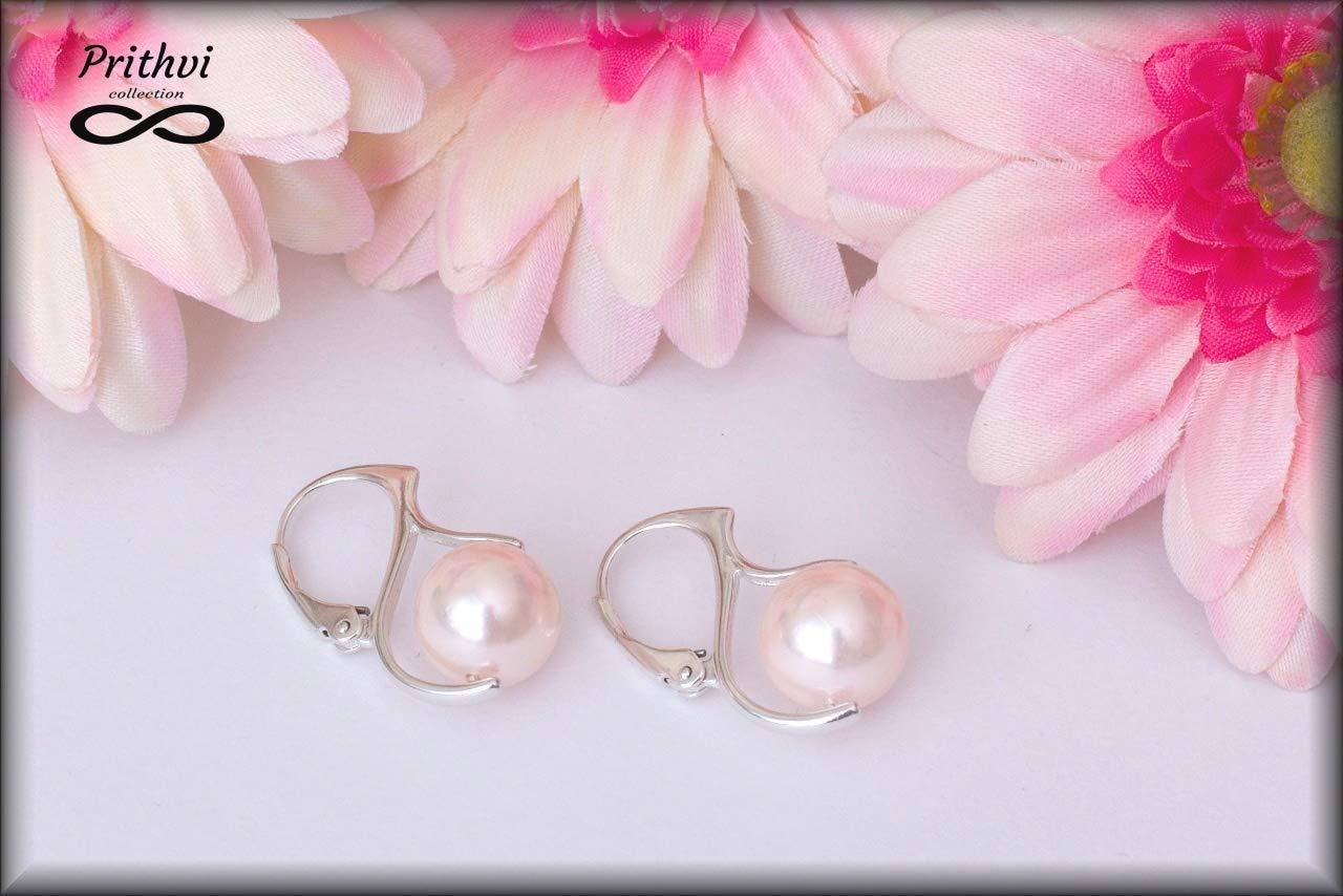 Elegante pendientes de Perlas de Rio para muje - Perlas de río (10mm), Plata de ley de 925 milésimas (Ag 925/1000)