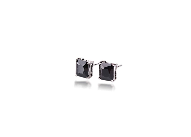 Surgical Stainless Steel Studs Earrings Men Women Square Princess Cut Basket Setting Black Cubic Zirconia Hypoallergenic Earrings