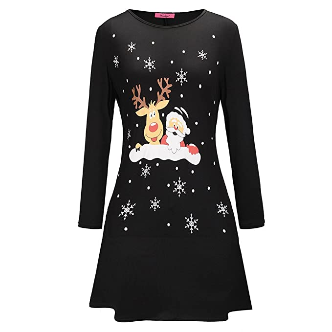 Donna Vestiti di Natale Stampa Alce Abito Natale Vestito da Donna Lunga  Maniche Midi Abito Elegante Vintage Abiti da Santa Natale Party Festa  Matrimonio ... ac6a75cff5cc