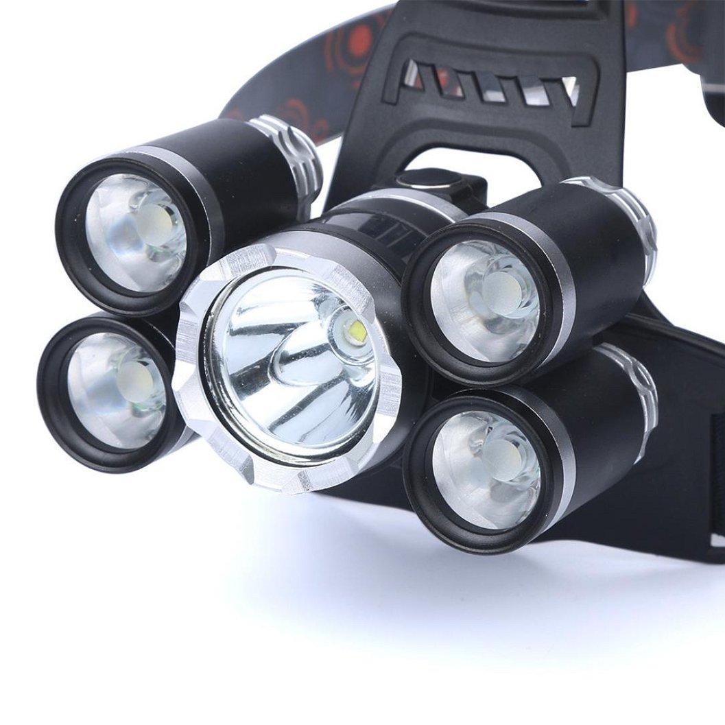 Kinrui 35000 LM 5X CREE XM-L T6 LED Rechargeable Headlamp Headlight Travel Head Torch (Black)