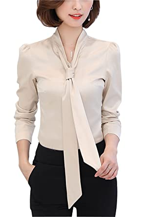 1e254cd64bccb DPO Women s Chiffon Button Down Bow Tie Vintage Cuffed Shirt Long Sleeve  Apricot 0