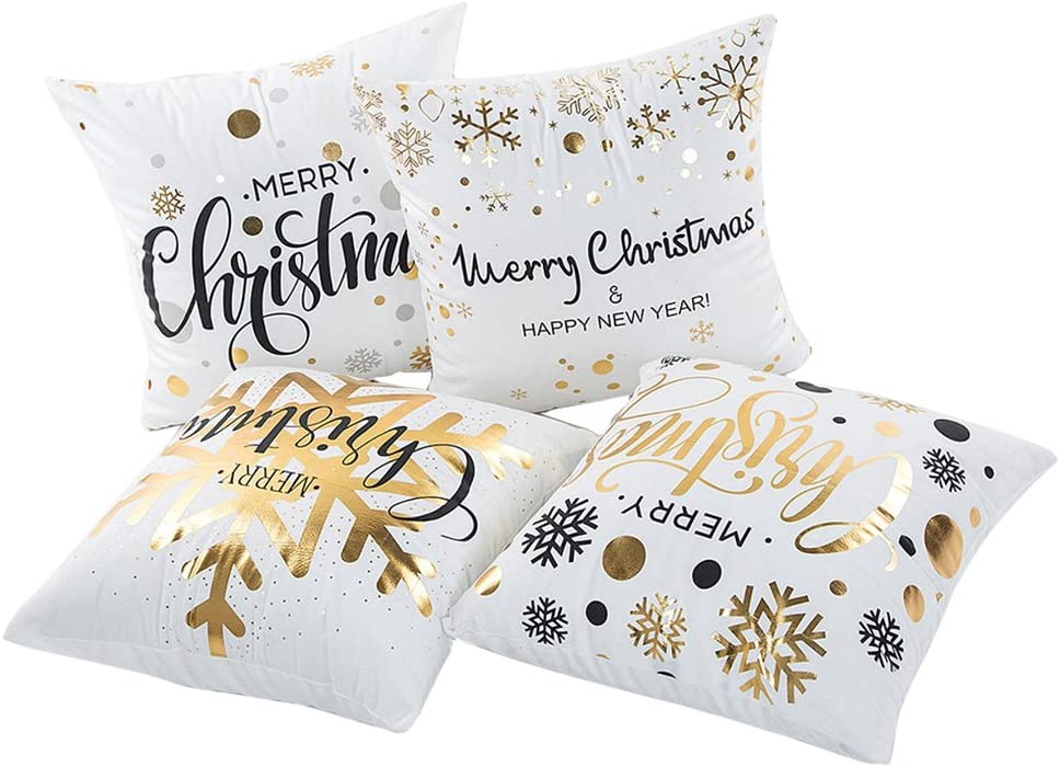 Gold Decorative Christmas Pillow Covers