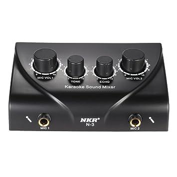 ammoon Sonido Audio Mezclador Estéreo de Eco Portátil Karaoke Entradas de Micrófono Dual con Cable RCA Adaptador de Corriente para TV PC Smartphone ...