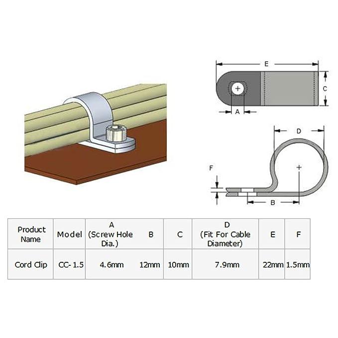 Amazon.com: eDealMax 2pcs Nylon R Tipo CC-1.5 5/16 cuerda del Cable de alambre de la abrazadera del Clip Sujetador Negro: Electronics