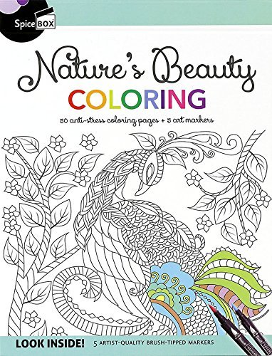 Nature's Beauty Coloring: 50 Anti-Stress Coloring Pages + 5 Art Markers